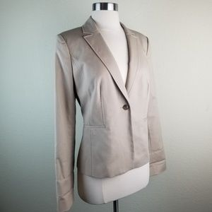 Halogen | Beige Classic Single Button Lined Blazer